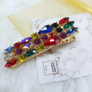 Bijoux Rainbow Crystal Gold Hair Clip - Medium